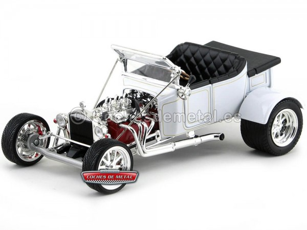 1923 Ford Model T Bucket Blanco Metalizado 1:18 Lucky Diecast 92828 Cochesdemetal.es