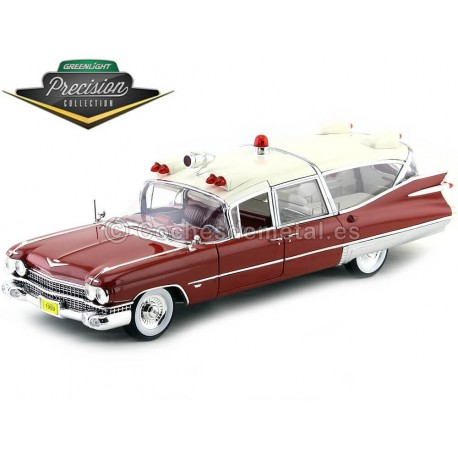 1959 Cadillac Ambulance Red and White 1:18 GreenLight Precision Collection PC18001 Cochesdemetal.es