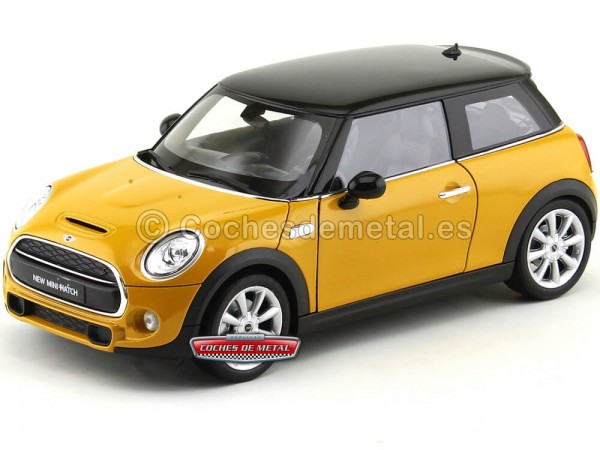 2016 New Mini Cooper S Hatchback Review Orange-Black 1:18 Welly 18050 Cochesdemetal.es