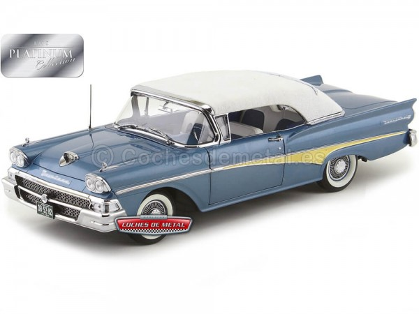 1958 Ford Fairlane 500 Closed Convertible Silverstone Blue 1:18 Sun Star 5282 Cochesdemetal.es