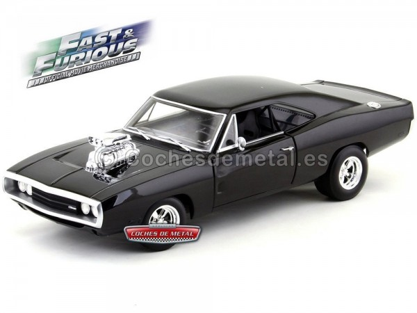 """1970 Dodge Charger """"Fast and Furious"""" Negro 1:18 Hot Wheels CMC97 Cochesdemetal.es"""