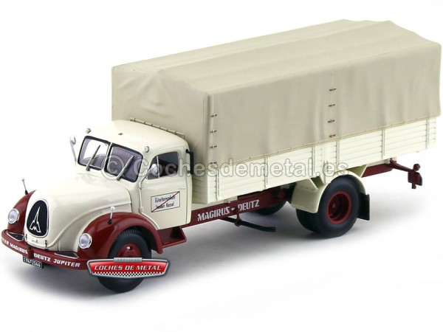 1953 Camión Magirus-Deutz S 7500 Jupiter Pritsche Rojo-Blanco Minichamps 439141022 1:43 Cochesdemetal.es