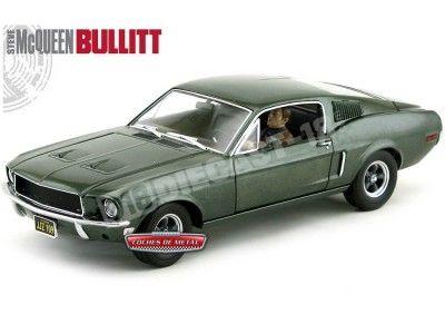 "1968 Ford Mustang GT Fastback ""BULLITT"" + Figura Steve McQueen 1:18 Greenlight 12938 Cochesdemetal.es"