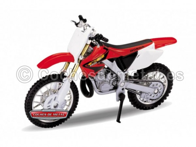 2007 Honda CR250R Rojo-Blanco 1:18 Welly 12178 Cochesdemetal.es