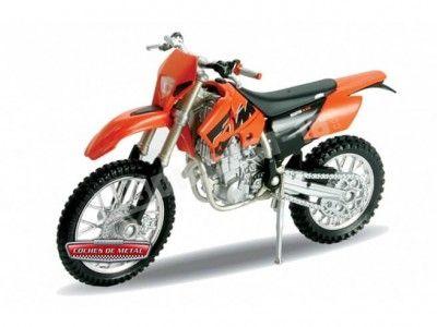 2007 KTM 525 EXC Naranja-Negro 1:18 Welly 12815 Cochesdemetal.es