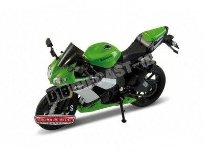 2009 Kawasaki Ninja ZX-10R Verde-Negro 1:18 Welly 12809 Cochesdemetal.es