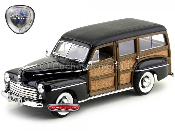 1948 Ford Super Deluxe Woody Estate Wagon Black 1:18 Lucky Diecast 20028 Cochesdemetal.es
