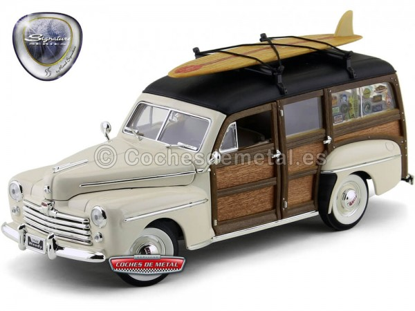 1948 Ford Super Deluxe Woody Estate Wagon White 1:18 Lucky Diecast 20028 Cochesdemetal.es