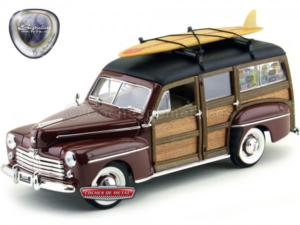 1948 Ford Super Deluxe Woody Estate Wagon Red 1:18 Lucky Diecast 20028 Cochesdemetal.es