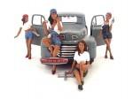 """Set 4 Figuras de Resina """"Chicas en taller"""" American Diorama 23859"""
