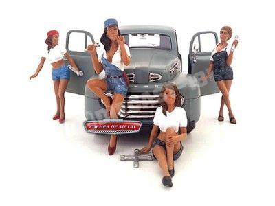 "Set 4 Figuras de Resina ""Chicas en taller"" American Diorama 23859 Cochesdemetal.es"