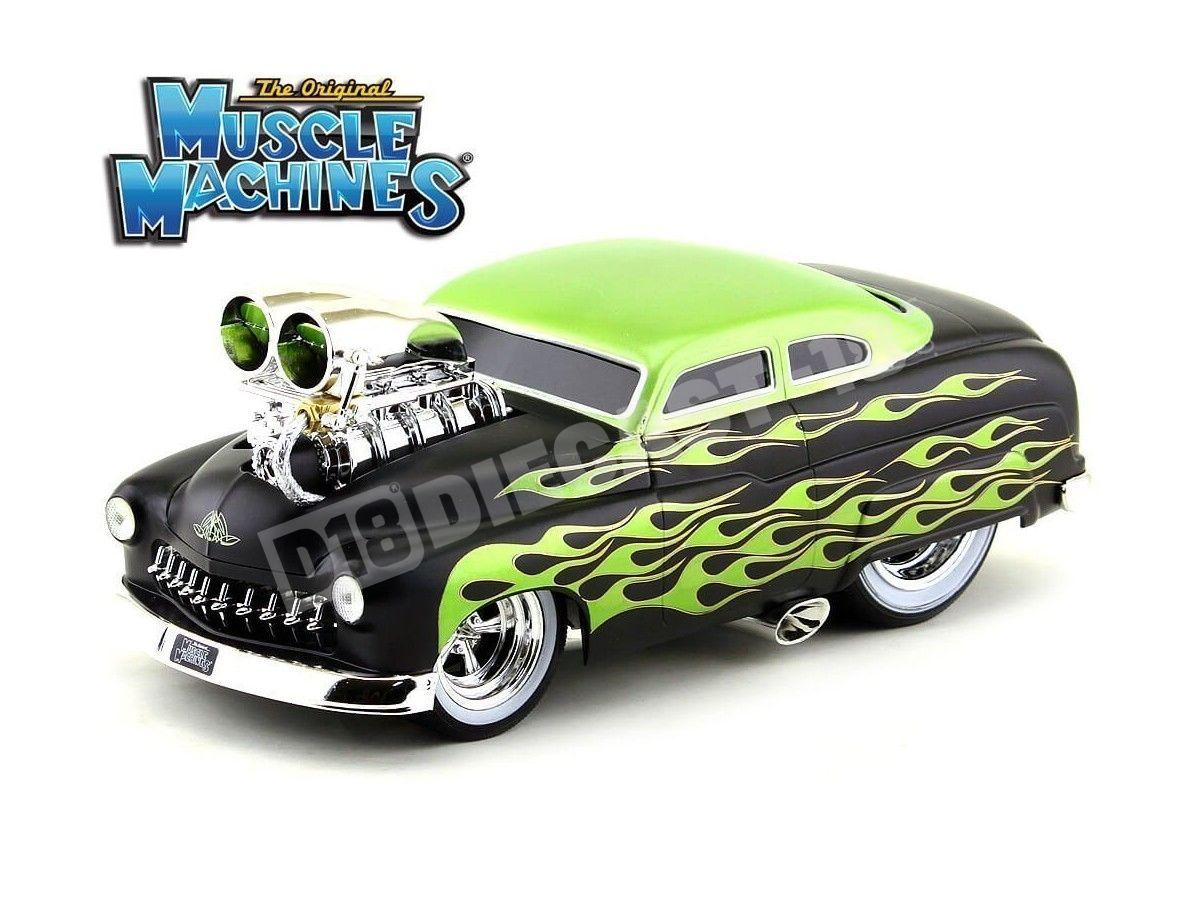 1949 Mercury Coupe Muscle Machine Negro-Verde 1:18 Maisto 32214 Cochesdemetal.es