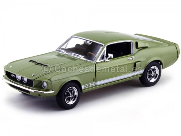 1967 Shelby Ford Mustang GT500 Verde 1:18 Auto World AMM993 Cochesdemetal.es