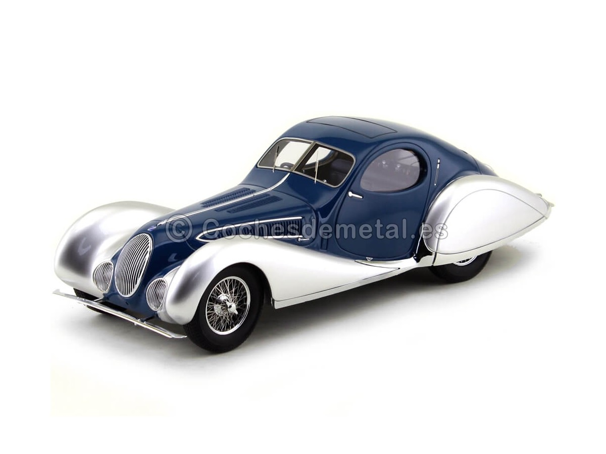 1937 Talbot Lago Special T 150-C SS Coupe Silver-Blue 1:18 Minichamps 107117122 Cochesdemetal.es