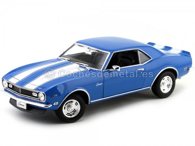 1968 Chevrolet Camaro Z28 Azul-Blanco 1:18 Welly 12553 Cochesdemetal.es