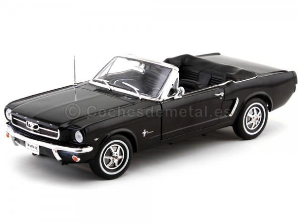1964 Ford Mustang 1-2 Cabrio Negro 1:18 Welly 12519 Cochesdemetal.es