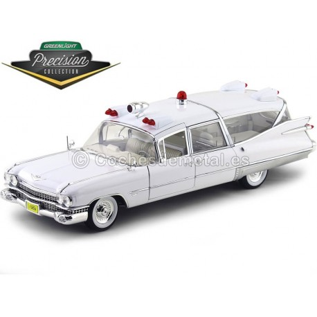 1959 Cadillac Ambulance White 1:18 GreenLight Precision Collection PC18004 Cochesdemetal.es