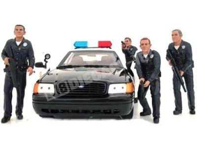 "Set 4 Figuras de Resina ""Oficial de Policía"" 1:18 American Diorama 24011 Cochesdemetal.es"