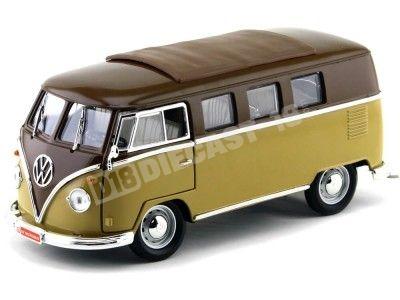 1962 Volkswagen Microbus Combi Type 2 T1 Marron-Gold 1:18 Lucky Diecast 92328 Cochesdemetal.es
