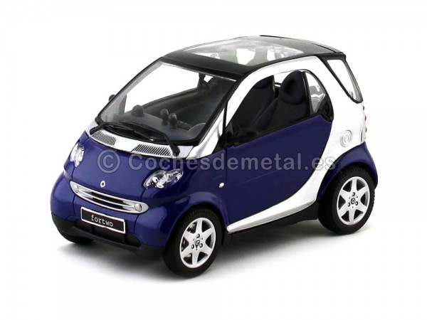 1988 Smart Fortwo City Coupe C453 Silver-Blue-Black 1:18 Maisto 31852 Cochesdemetal.es