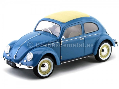 1950 Volkswagen Classic T1 Kafer Beetle Blue 1:18 Welly 18040 Cochesdemetal.es