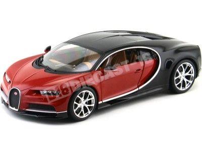2016 Bugatti Chiron Rojo-Negro 1:18 Bburago 11040 Cochesdemetal.es
