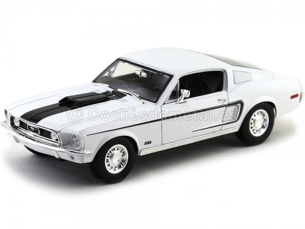 1968 Ford Mustang GT Cobra Jet Blanco 1:18 Maisto 31167 Cochesdemetal.es