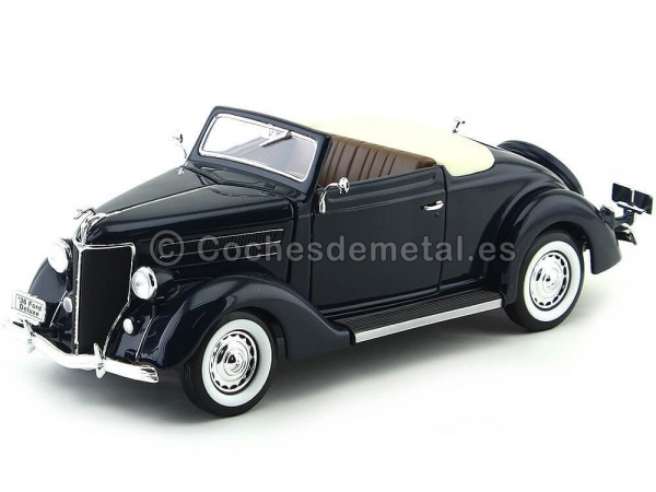 1936 Ford Deluxe Cabriolet Negro 1:18 Welly 19867 Cochesdemetal.es