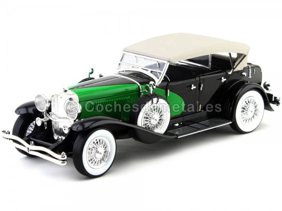 1934 Duesenberg Phaeton Cabrio Verde-Negro 1:18 Signature Models 18110 Cochesdemetal.es