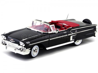 1958 Chevrolet Impala Roadster Negro Metalizado 1:18 Motor Max 73112 Cochesdemetal.es