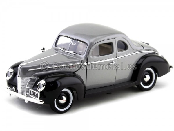 1940 Ford Deluxe Gris-Negro 1:18 Motor Max 73108 Cochesdemetal.es