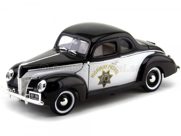 """1940 Ford Deluxe Police """"Highway Patrol"""" 1:18 Motor Max 73108 Cochesdemetal.es"""