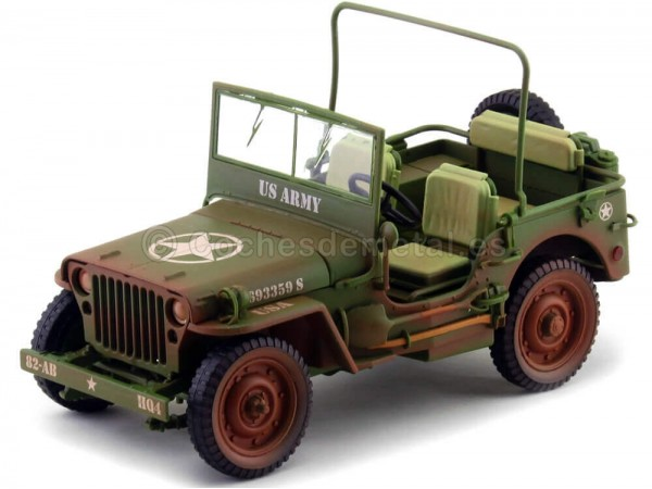 1944 Jeep Willys US Army Verde Caqui Sucio 1:18 Triple-9 1800141B