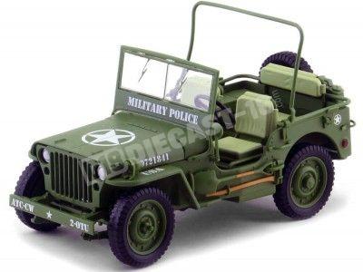 1944 Jeep Willys Policía Militar Verde Caqui 1:18 Triple-9 1800142 Cochesdemetal.es