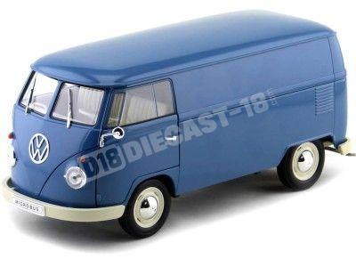 1963 Volkswagen T1 Microbus Panel Van Azul 1:18 Welly 18053 Cochesdemetal.es