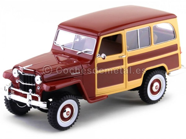 1955 Jeep Willys Station Wagon Rojo-Madera 1:18 Lucky Diecast 92858 Cochesdemetal.es