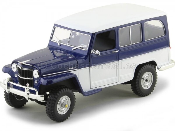 1955 Jeep Willys Station Wagon Azul-Blanco 1:18 Lucky Diecast 92858 Cochesdemetal.es