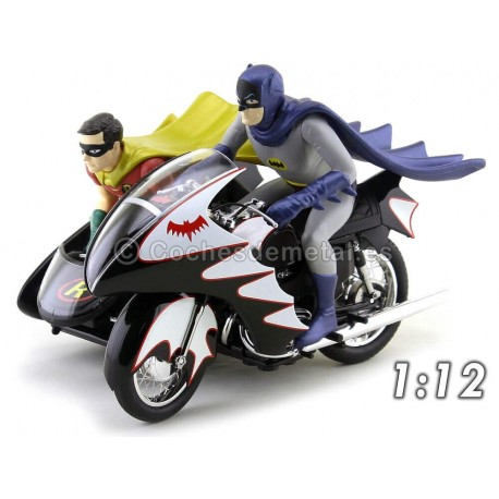 1966 TV Series Batcycle con Sidecar Batman y Robin 1:12 Hot Wheels Elite CMC85