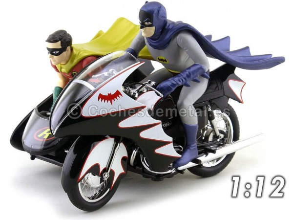 1966 TV Series Batcycle con Sidecar Batman y Robin 1:12 Hot Wheels Elite CMC85 Cochesdemetal.es