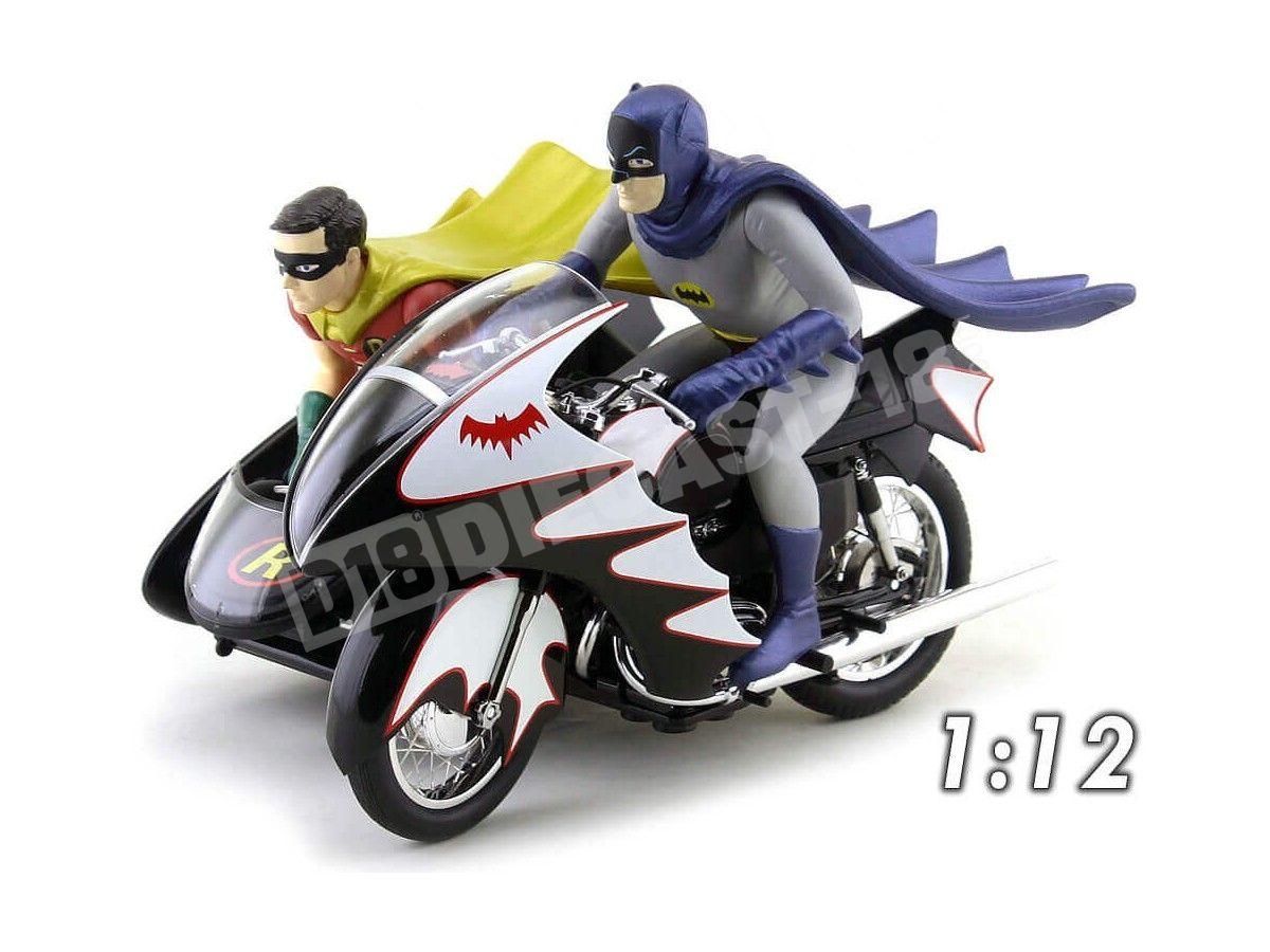 1966 TV Series Batcycle con Sidecar Batman y Robin 1:12 Hot Wheels Elite CMC85 Cochesdemetal.es