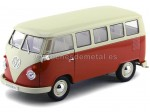 1963 Volkswagen T1 Classical Microbus Rojo-Blanco 1:18 Welly 18054