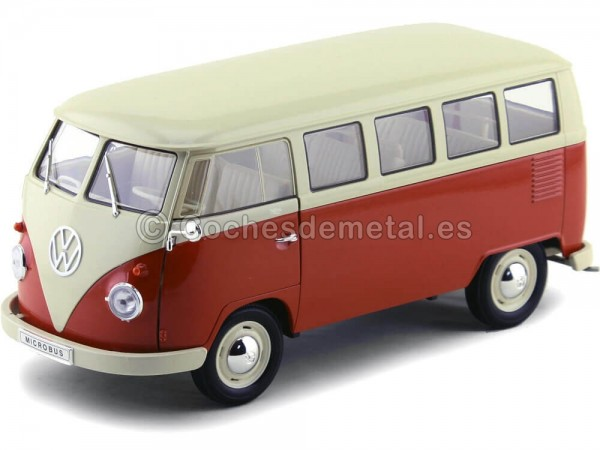 1963 Volkswagen T1 Classical Microbus Rojo-Blanco 1:18 Welly 18054 Cochesdemetal.es