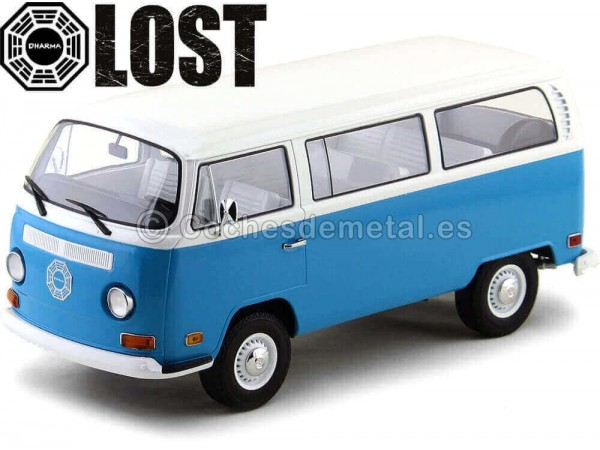 "1971 Volkswagen Bus T2B ""Lost TV series"" Azul 1:18 Greenlight 19011 Cochesdemetal.es"