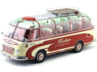 1956 Pegaso Setra S6 Fischer Rojo-Blanco 1:18 Schuco 450034600 Cochesdemetal.es