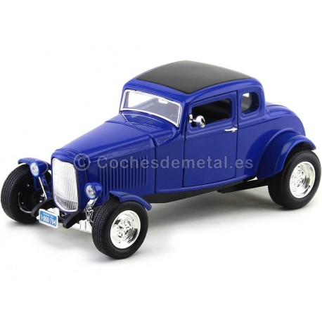 1932 Ford Five-Window Coupe Azul 1:18 Motor Max 73171 Cochesdemetal.es