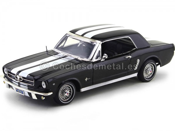 1964 Ford Mustang 1-2 Coupe Negro-Blanco 1:18 Motor Max 73164 Cochesdemetal.es