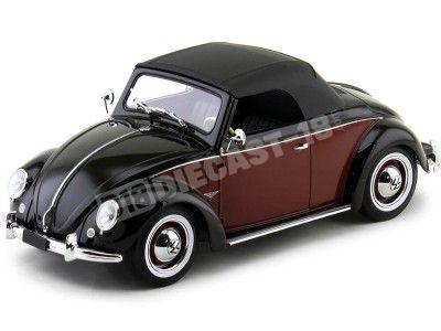1949 Volkswagen 1200 Hebmueller Cabrio Negro-Rojo 1:18 KK-Scale 180112 Cochesdemetal.es