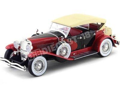 1934 Duesenberg Phaeton II SJ Rojo-Negro 1:18 Greenlight 12995 Cochesdemetal.es