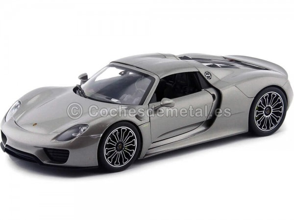 2013 Porsche 918 Spyder Hard-Top Gris 1:18 Welly 18051 Cochesdemetal.es