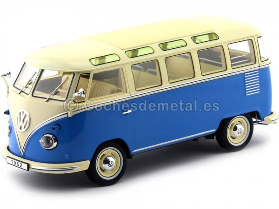 1961 Volkswagen T1 Samba Bus Blue-Cream 1:18 KK-Scale 180152 Cochesdemetal.es